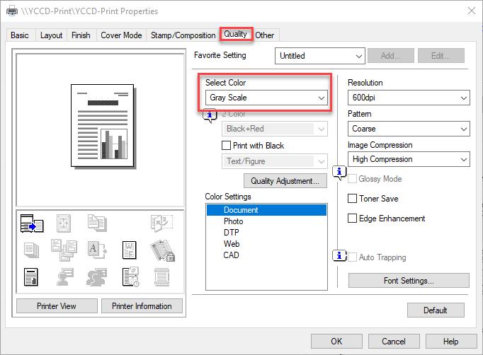 example of YCCD Print properties screen - quality tab