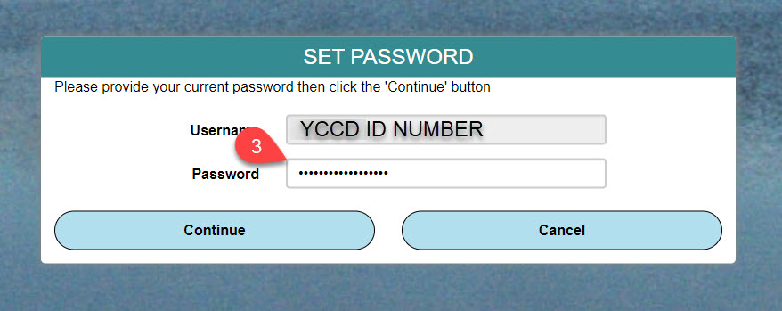 Image of set password screen with Username and Password completed