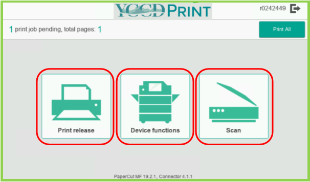 Example of YCCD Print Opening Options page at MFP