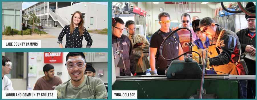 3 images female student at Lake Campus, 4 male student at WCC and teacher and students in welding class at Yuba