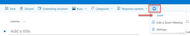 Image of Zoom button in Outlook Calendar