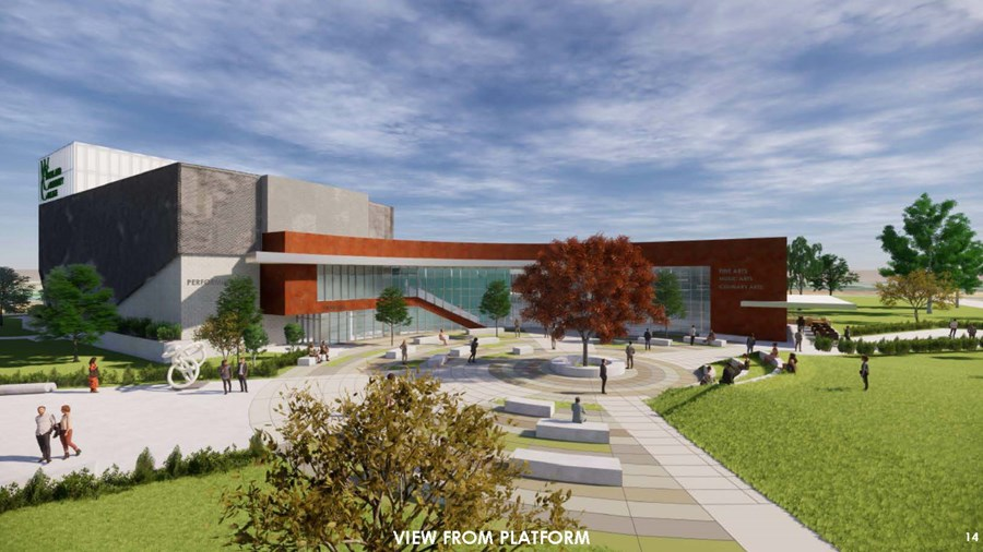 Color sketch of future Performing Arts Facility at WCC