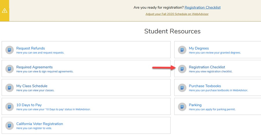 Picture of Student Resources Page Pointing at Registration Checklist