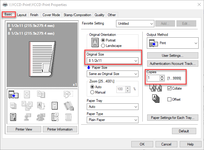 Example of YCCD Print properties screen - basic tab