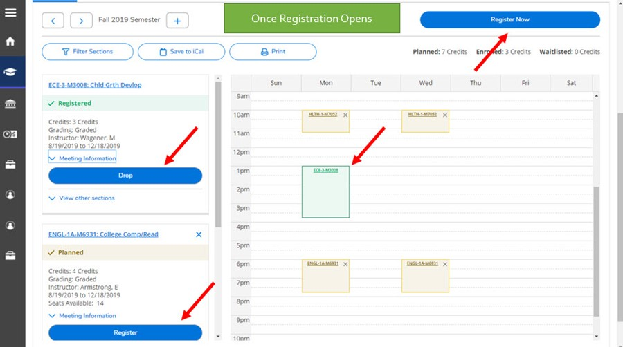 Picture pointing to register and drop buttons and an example of a registered course