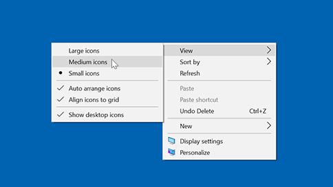 image of change icon size window