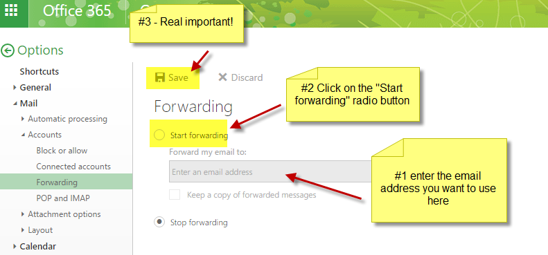 Image of window to input forwarding email address