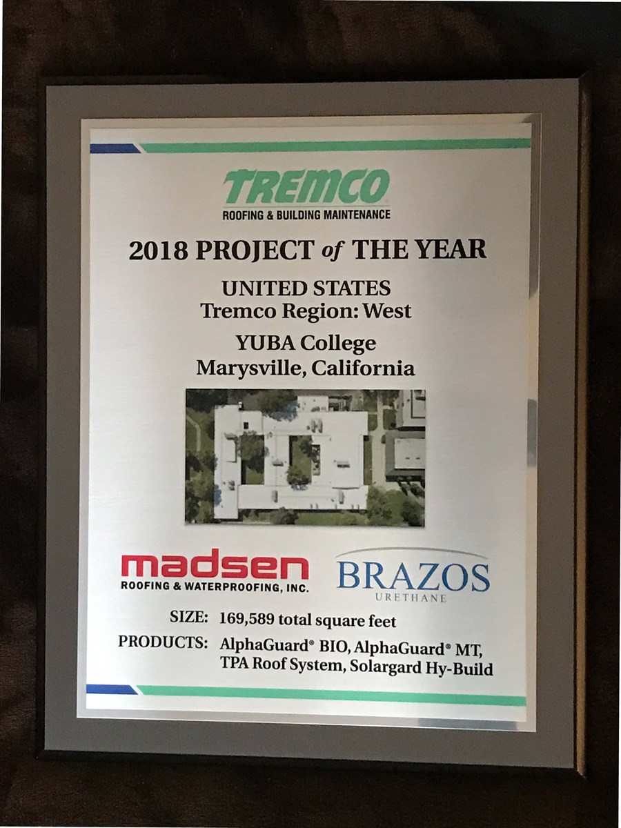 Image of Tremco 2018 project of the year award