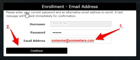 Image of window to enroll personal email