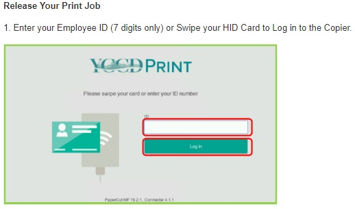 image of login window at the MFP