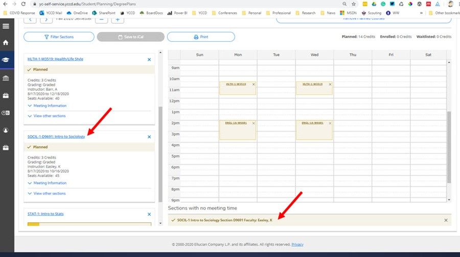 Picture of where online classes information is located at the bottom of the scheduling grid