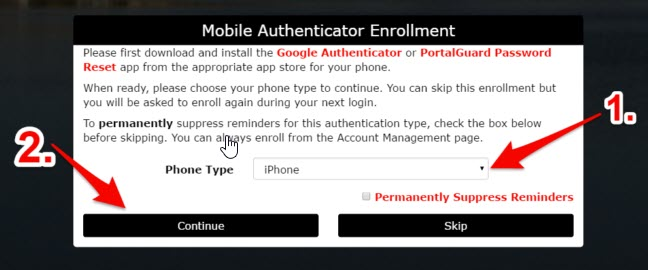 Image of window for mobile authenticator enrollment