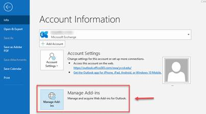 image of manage add-ins in Outlook