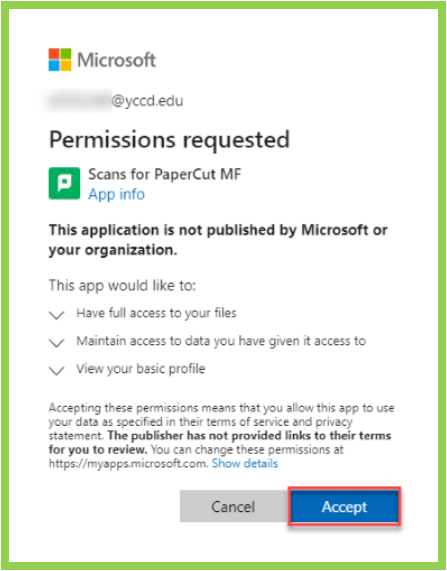 example of PaperCut Permissions Request