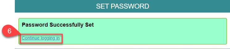 Image of the Password Successfully Set page