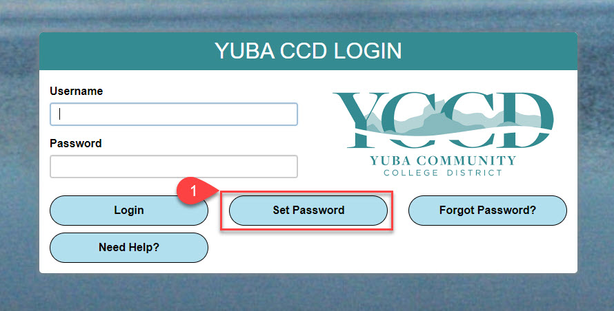 Image of the Yuba CCD Login Screen, set password selected