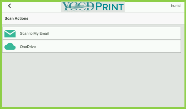 Example of YCCD Print MFP Scan Actions Page