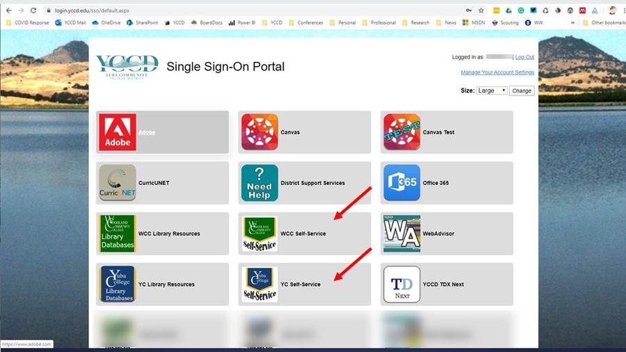 Image of Single Sign-On Portal access tiles