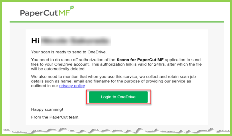 example of PaperCut Authorization email