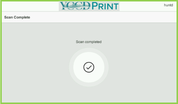 Example of YCCD Print MFP Scan Complete Page