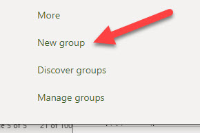 Left navigation pane in Outlook on the web select new group