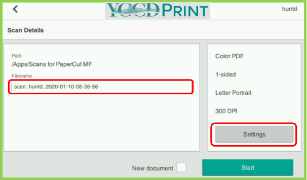 Example of YCCD Print MFP Scan Details Page