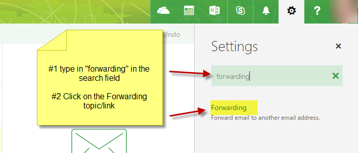 Image of search for forwarding window