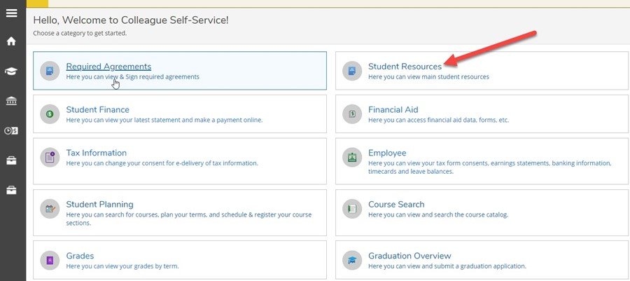 Image of Student Resources selection in Self-Service